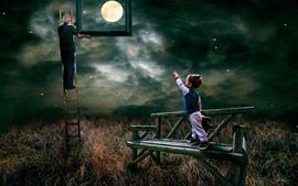Aperçu fond d'écran Escalier, Père, Garçon, Lune, Nuages, Grass, Banc, Photo, Image créative