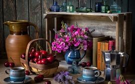Ainda vida, cereja, rosa flores, livros, café