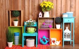 Aperçu fond d'écran Maison douce, décoration, fleurs