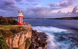 Vorschau des Hintergrundbilder Sydney, Meer, Küste, Leuchtturm, Felsen, Wolken