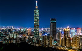 Preview wallpaper Taipei 101 Building, Taiwan, skyscrapers, lights, night, city