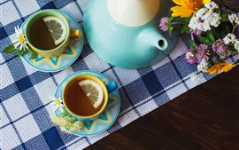Chá, bule, flores, ainda vida