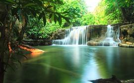 Aperçu fond d'écran Thaïlande, paysage de la nature, cascades, eau, arbres verts