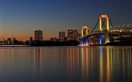 東京、日本、橋、ライト、ナイト、リバー、都市
