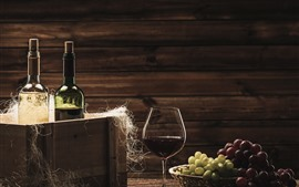 Preview wallpaper Two bottles of wine, grapes, glass cup