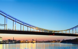 Ucrania, Kiev, Puente, Luces, Río, Ciudad