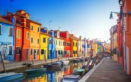 Венеция, Италия, Красочные дома, Река, Лодки, Город