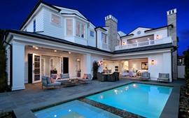 预览壁纸 别墅,纽波特海滩,游泳池,室内,灯光,椅子