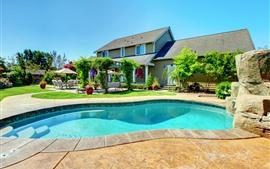 Preview wallpaper Villa, house, pool, flowers, garden