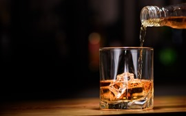 Whiskey, alcohol, glass cup, ice cubes