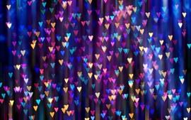 預覽桌布 很多五顏六色的愛心,燈,朦朧