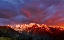Alpes, Mont Blanc, montañas, nieve, nubes, atardecer