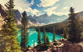 Vorschau des Hintergrundbilder Banff National Park, See, Bäume, Berge, Sonnenstrahlen, Kanada