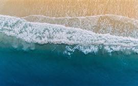 Preview wallpaper Beach, top view, sea, foam, coast