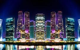 壁紙のプレビュー 美しい街の夜、モスクワ、高層ビル、ライト、川、ロシア