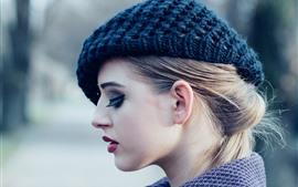 Chica rubia, modelo, sombrero, cara, vista lateral