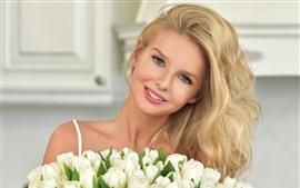 Preview wallpaper Blonde girl, white tulips