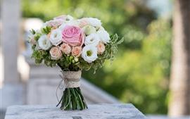 Букет, цветы, роза, туманный фон