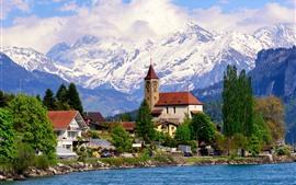 Vorschau des Hintergrundbilder Brienz, Schweiz, Dorf, Häuser, See, Berge
