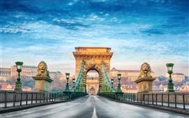 Vorschau des Hintergrundbilder Budapest, Brücke, Vorderansicht, Straße, Stadt