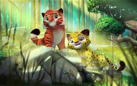预览壁纸 卡通,两只可爱的老虎