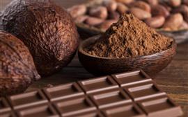 Aperçu fond d'écran Chocolat, cacao, poudre, noix