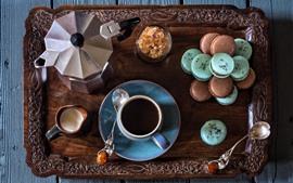 Кофе, чашка, пирожные, макарон, молоко