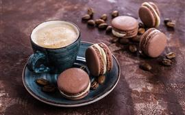Кофе, пена, миндальное печенье, пирожные, еда