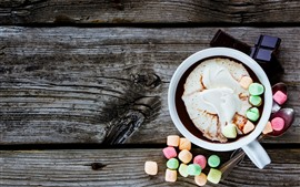 Vorschau des Hintergrundbilder Kaffee, Eibisch, Bunt, Schaum, Getränke, Löffel, Schokolade