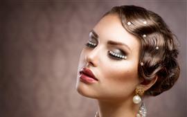 壁紙のプレビュー ファッションの女の子、髪型、宝石、化粧