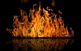 Огонь, пламя, отражение, черный фон