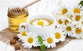 Chá de flores, camomila, copo, mel, açúcar