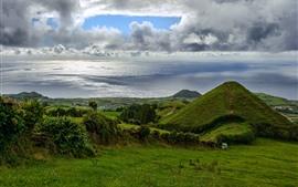 미리보기 배경 화면 프랑스, 녹색 초원, 해안, 바다, 구름