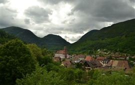 Preview wallpaper France, mountains, houses, town, trees, clouds