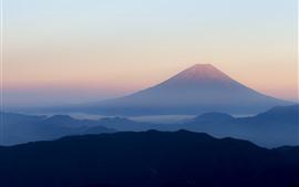 壁紙のプレビュー 富士山、山脈、火山、朝、霧、日本