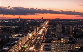 Alemanha, cidade, estrada, carros, casas, luzes, noite, nuvens