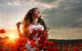 Vorschau des Hintergrundbilder Mädchen, Frisur, rote Mohnblumenblumen, Sonnenschein