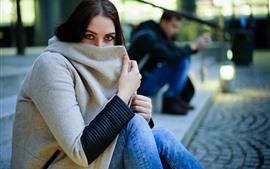 Девушка, смотреть, пальто, маска