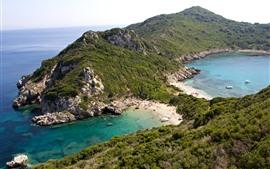 Grecia, Corfú, Mar, Playa, Rocas