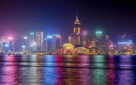 Vorschau des Hintergrundbilder Hongkong, Stadt, Nacht, Meer, Wolkenkratzer, Lichter