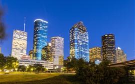 Houston, Luces, Rascacielos, Hierba, Texas, Estados Unidos
