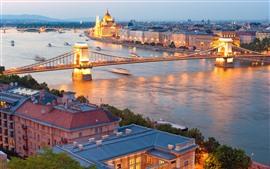 Hungria, Danúbio rio, ponte, cidade, noite, luzes