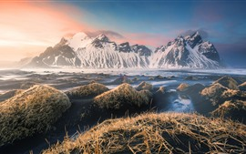 Preview wallpaper Iceland, mountains, snow, stones, dusk