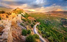 Preview wallpaper Israel, Golan Heights, road, fortress, clouds, sunset