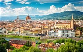 Itália, Florença, Europa, cidade, edifícios, rio