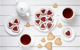 Aperçu fond d'écran Amour coeur biscuits, thé, tasse, fond blanc