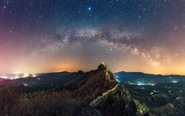 Aperçu fond d'écran Montagnes, le grand mur, étoiles, étoilé, ciel, nuit, chine