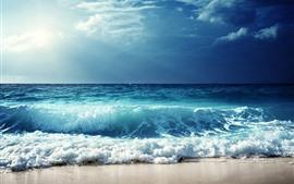 Vorschau des Hintergrundbilder Naturlandschaft, blaues Meer, Wellen, Schaum, Wolken, Sonnenstrahlen