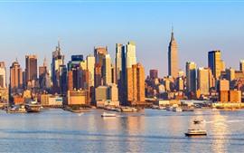 Nueva York, Barcos, Costa, Rascacielos, Ciudad, EE.UU.