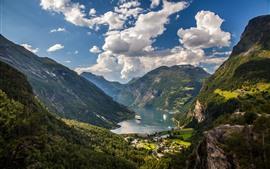 미리보기 배경 화면 노르웨이, 게이랑에르 피요르드, 산, 밸리, 보트